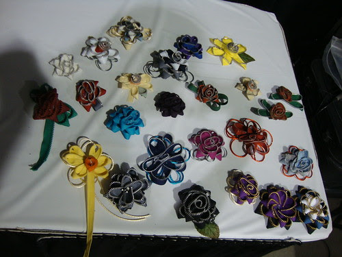 zipper flowers the class made as a whole