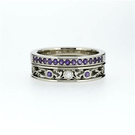 engagement ring set Filigree ring Amethyst wedding band