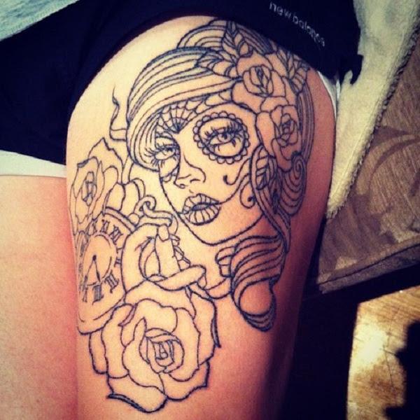 Girl Tattoos Girl Rose Thigh Tattoo