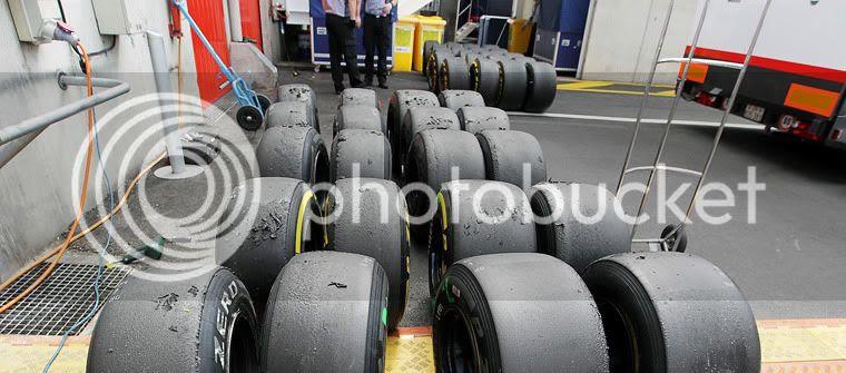 Neumáticos Pirelli desgastados F1 2012