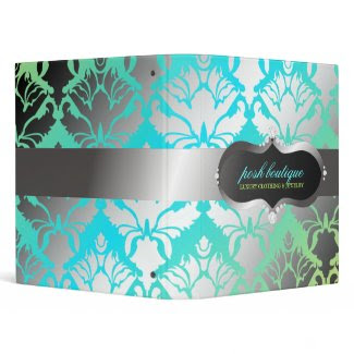 311-Zeopard Sign & Damask Shimmer Paradise Lime binder