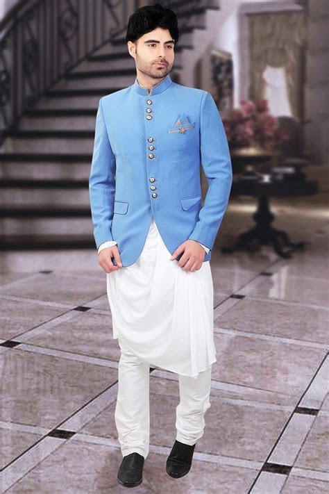 Sky Blue Designer Mens Jodhpuri Suit In Jacquard Fabric