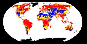 Global variation in soil pH. Red = acidic soil...