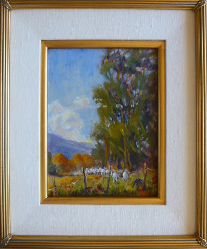 Sheep with Eucalyptus by Patricia Huber Oil ~ 12 x 9""