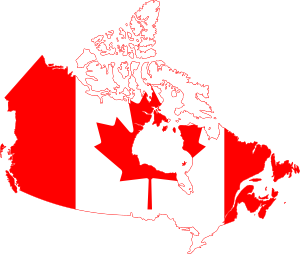 English: Flag of Canada over country contour F...