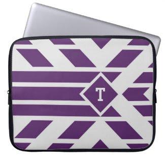 Purple Quadrangle Stripes on Grey, Monogram Sleeve Laptop Sleeves