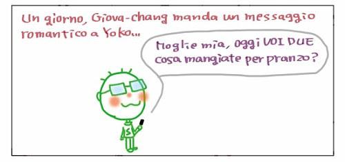 Un giorno, Giova-chang manda un messaggino romantico a Yoko… Moglie mia, oggi VOI DUE cosa mangiate per pranzo?