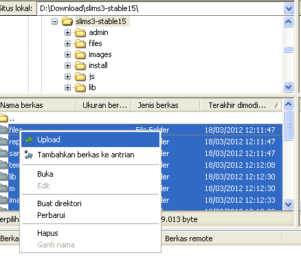 Upload File SLiMS Menggunakan Filezilla