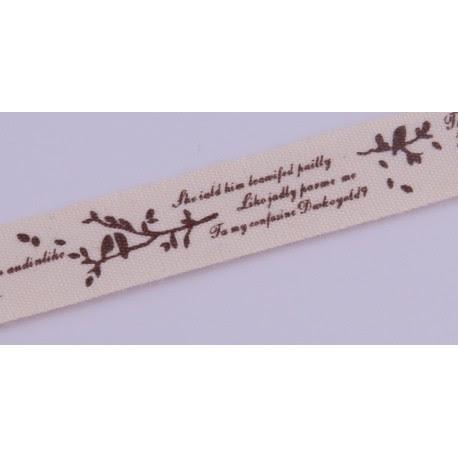 Taśma bawełniana - cytat 15mm 1mb