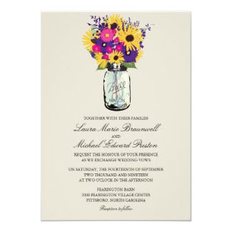 Mason Jar Daisies and Sunflowers 5x7 Paper Invitation Card