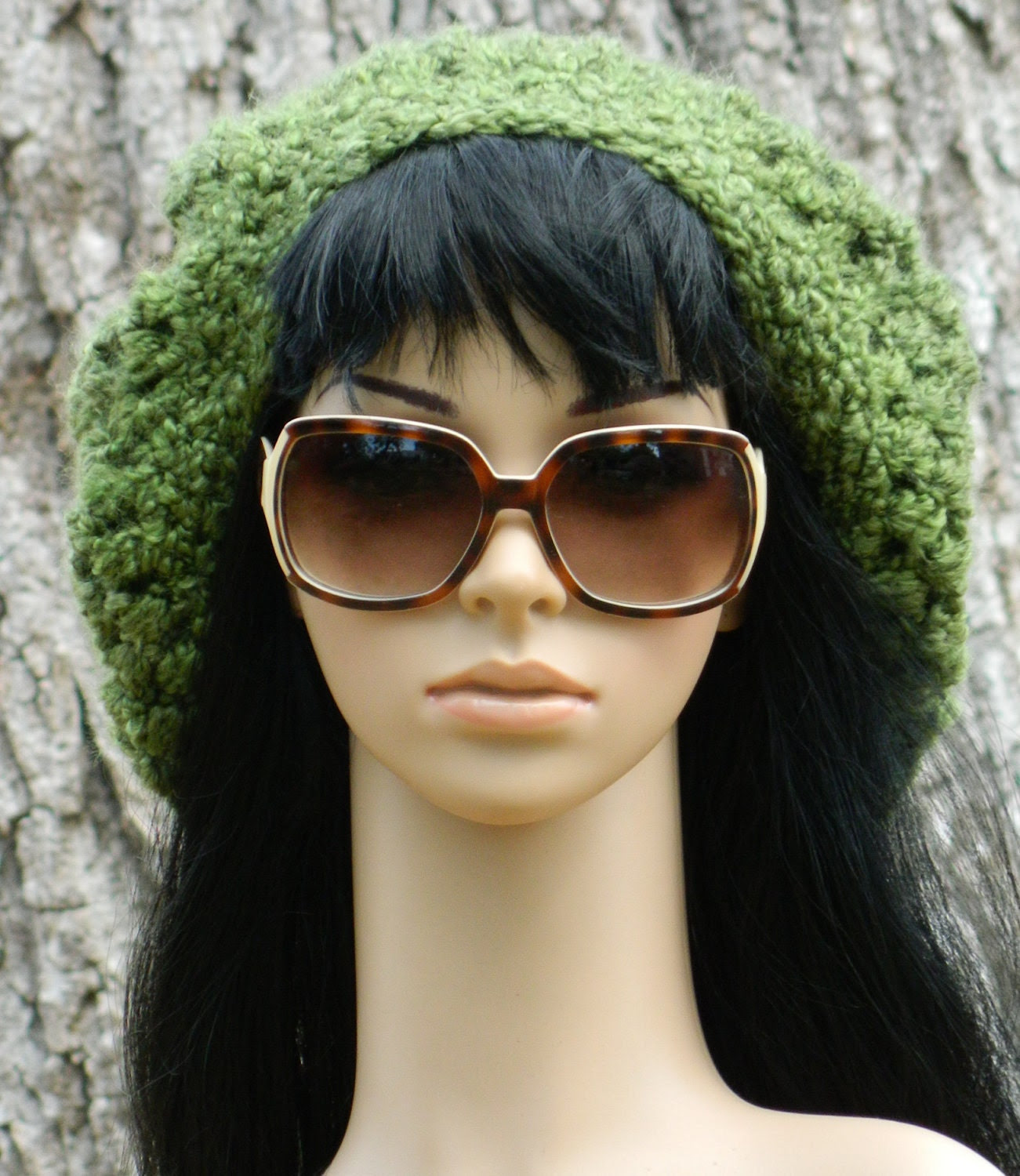 Winter Beret  Tam Slouchy For Women And Teens In Green