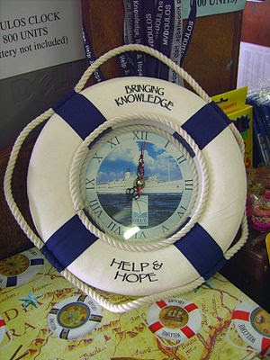 MV Doulos Memorial Clock printed words below: ...