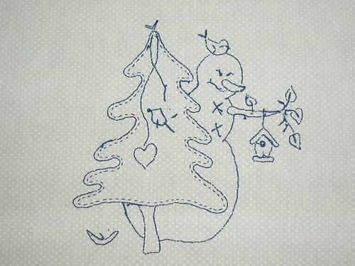 Snowman stitchery back