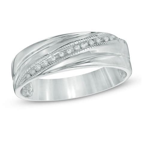 Men's Diamond Accent Wedding Band in Sterling Silver