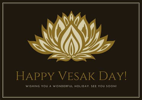 Gold Illustrated Lotus Vesak Day Card   Templates by Canva