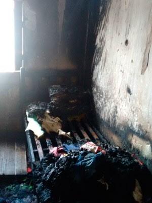 Criança dormia no momento do incêndio e não resistiu aos ferimentos (Foto: Divulgação / Polícia Civil)
