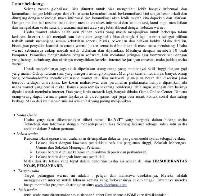 Contoh Bisnis Plan Dalam Kewirausahaan - Jawat Kosong