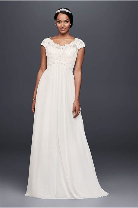 White by Vera Wang Short Sleeve Lace Wedding Dress   David
