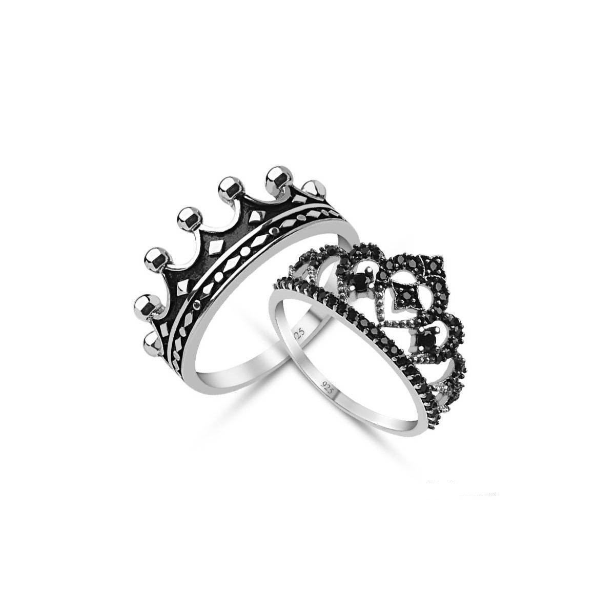 King Queencrown Ring Set18k Gold Plated Silver Crown Ring Set