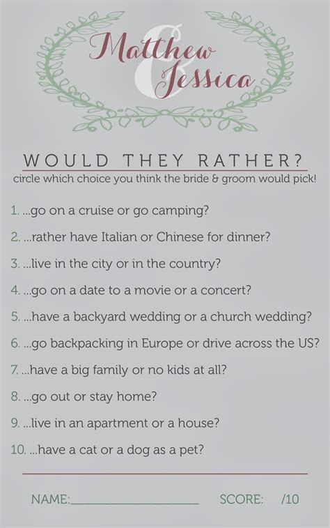 Bridal Shower Games // Would They Rather?, bridal shower