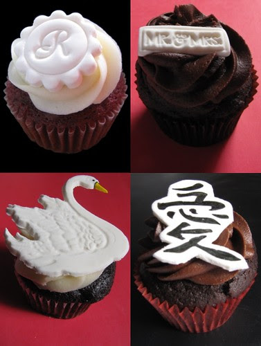 A few sample designs for our March wedding cupcake tasting