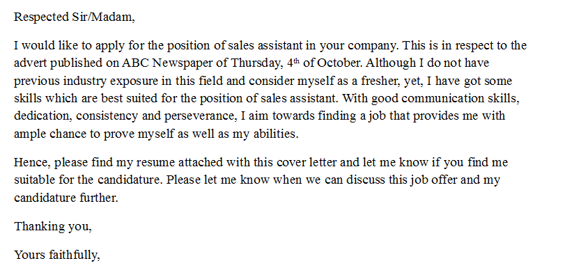 sales coverletter no experience