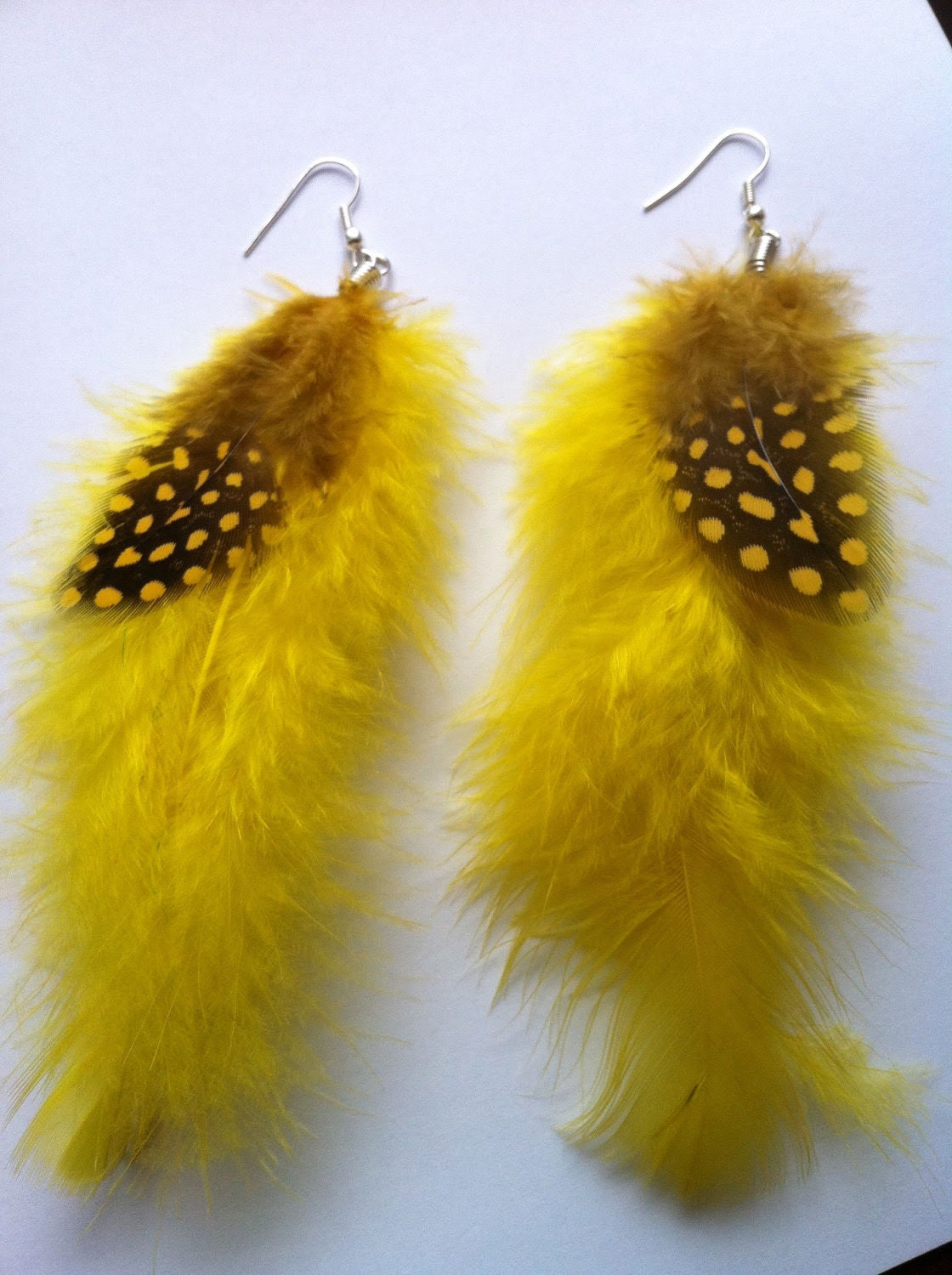 Vibrant Yellow Feather Earrings