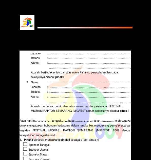 Contoh Surat Perjanjian Kerjasama Sponsorship