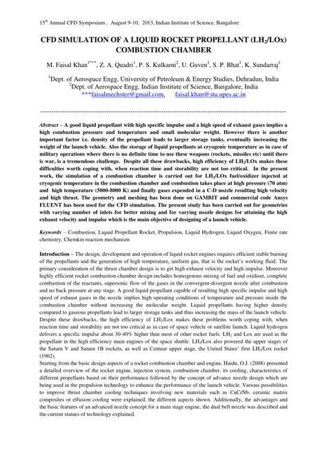 (PDF) CFD SIMULATION OF A LIQUID ROCKET PROPELLANT (LH 2