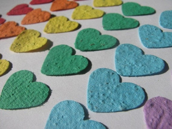 100 Rainbow colored plantable heart confetti- homemade paper embedded with flower seeds