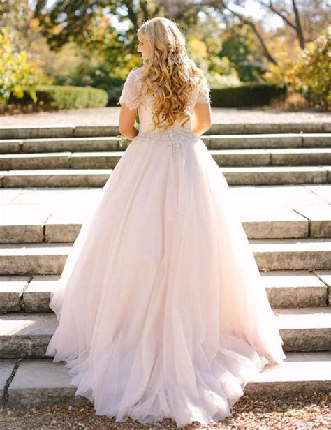 Fit And Flare Illusion Neckline Lace Tulle Puffy Wedding
