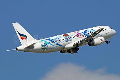 Bangkok Air (Bangkok Airways) A320-232 HS-PPE (msn 2417) (Mascots - Willy, Daisy, Rocky, Sunshine and Sky) BKK (Michael B. Ing). Image: 921759.