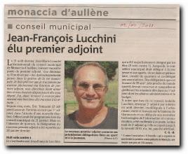 désignation d'un nouveau premier adjoint à la mairie de Monacia : Jean-François Lucchini