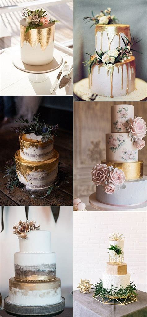 Trending 15 Creative Metallic Wedding Cakes for 2018   Oh