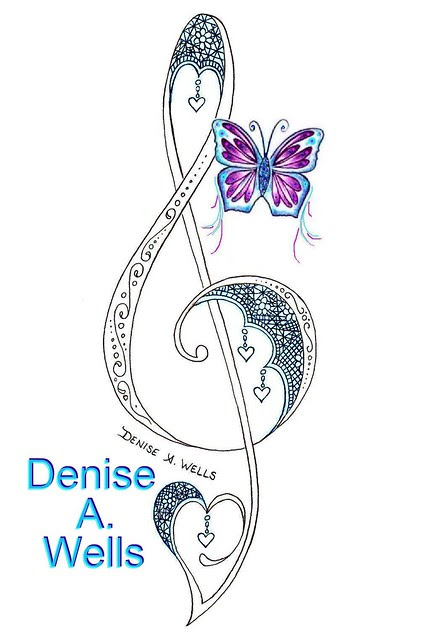 Lace Treble Clef tattoo with butterfly and heart charms hanging off