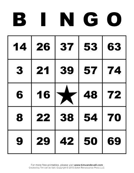 Printable Bingo Cards   2017 Calendar