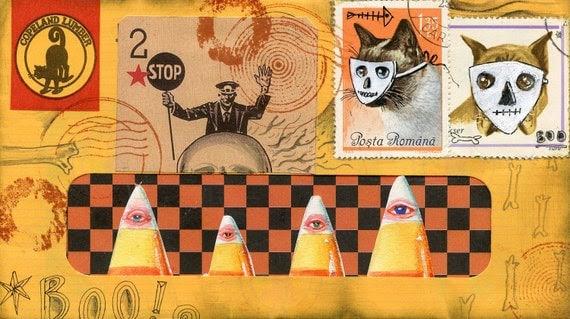 Halloween Mail Art Postcard