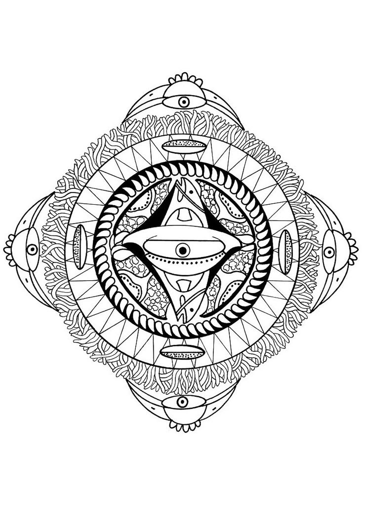 Polynesian mandala with face, bird and fish coloring pages ...
