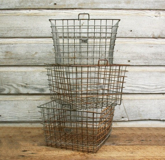 Vintage Industrial Wire Locker Basket