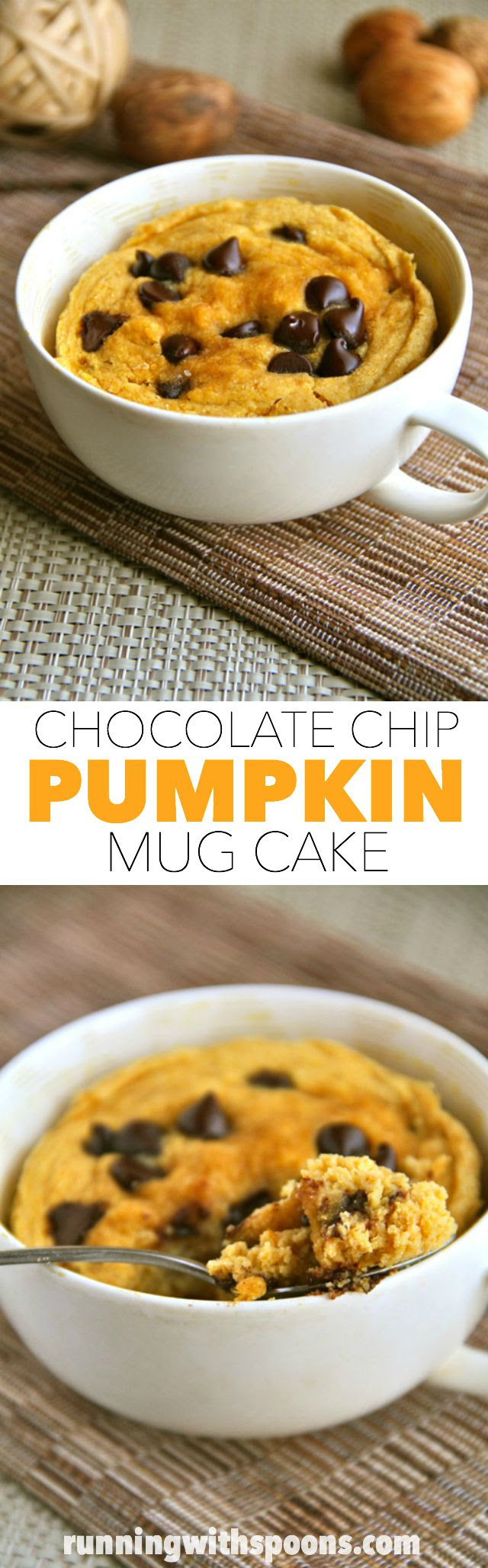 chocolate chip pumpkin mug cake . - . running with spoons