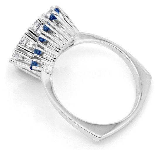 Foto 3, Traum-Safir-Brillant-Ring, 18K/750 Weissgold Luxus! Neu, S7306