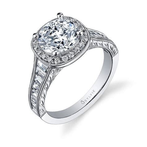 Dior   Vintage Inspired Halo Baguette Engagement Ring