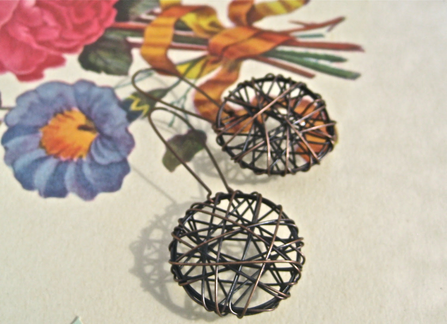 copper wire wrapped earrings - kidney wires