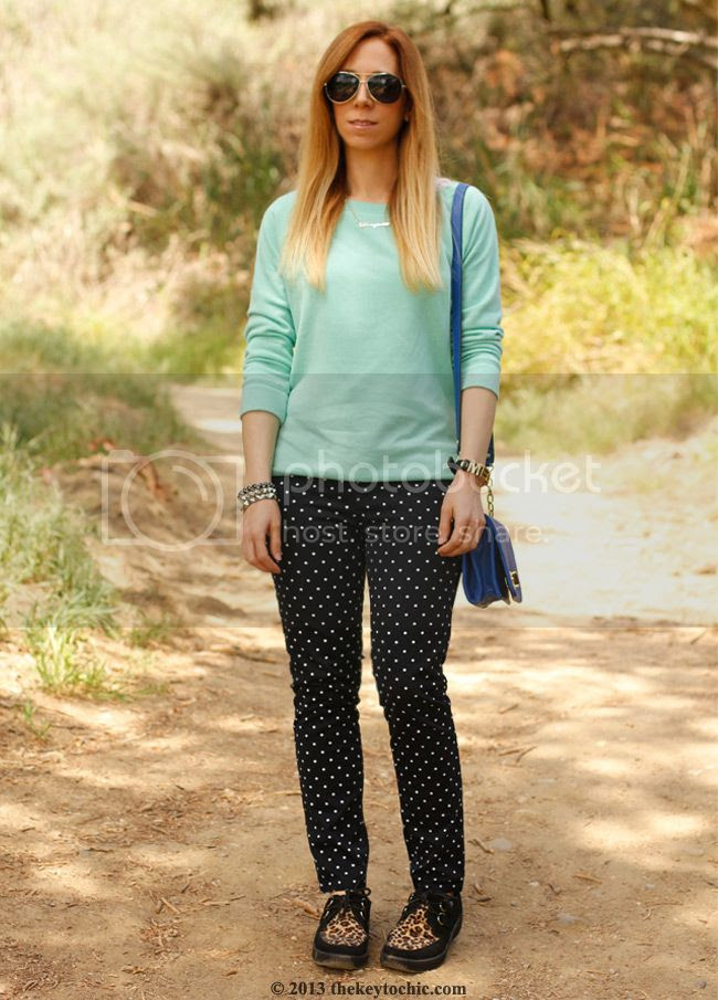polka dot JCP jeans, T.U.K. Viva leopard creepers, Merona turnlock handbag, Los Angeles fashion blog