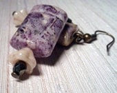 Violet Hill - Stone and Retro-style Glass Earrings