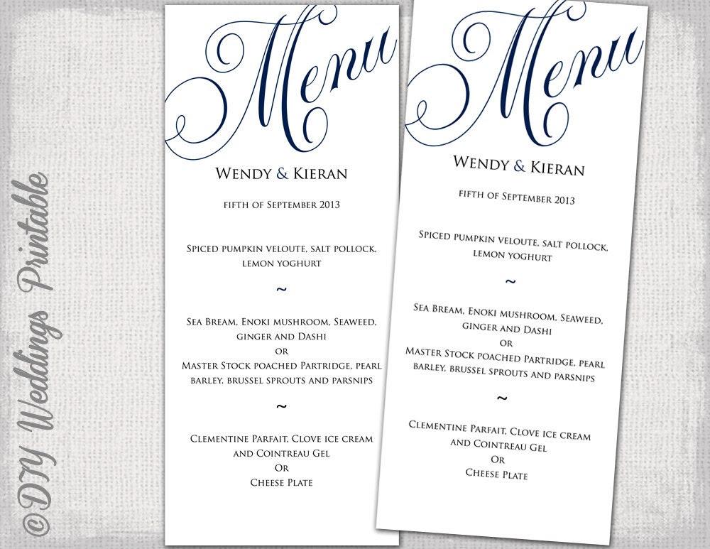 Free Printable Wedding Menu Templates   Card, Invitation And ...