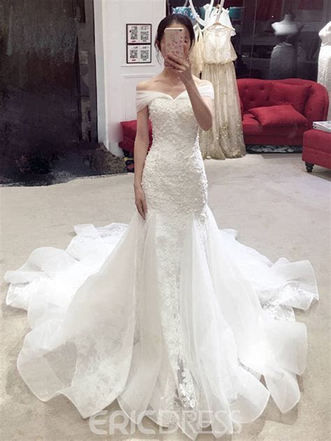 Ericdress Mermaid Lace Beading Off the Shoulder Wedding