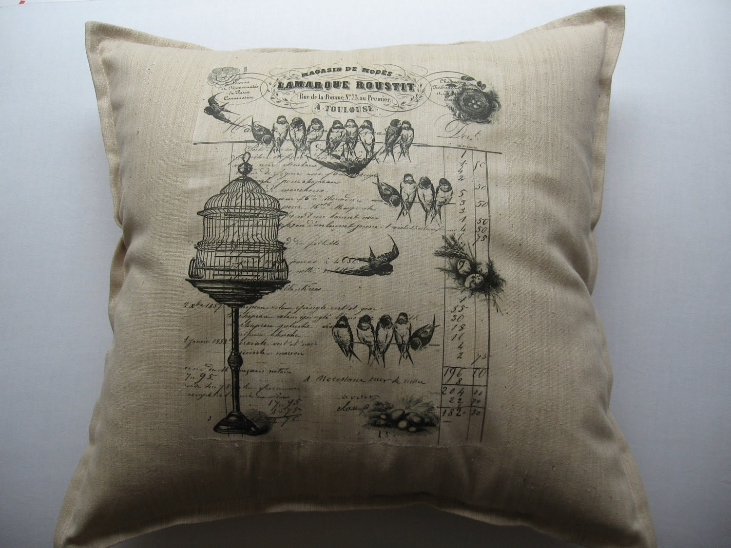 Pillow - French Bird Cage Print 18""