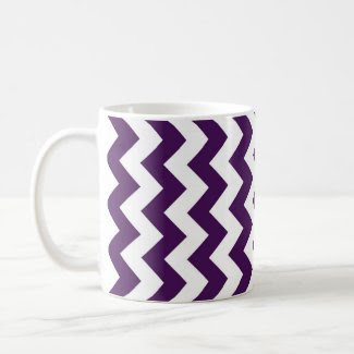 Purple and White Zigzag Coffee Mugs