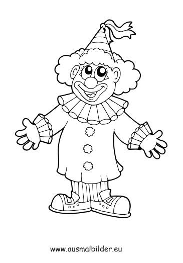 kostenlose malvorlage berufe clown zum ausmalen  simple